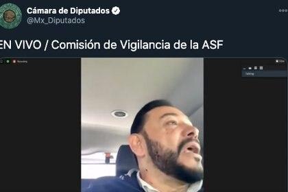 El diputado Héctor Serrano Cortés del PT, realizó su participación en un auto, no se sabe si él conducía