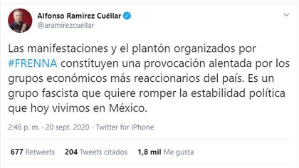 El también antropólogo de la ENAH criticó la manifestación de FRENAAA (Foto: Twitter / @aramirezcuellar)