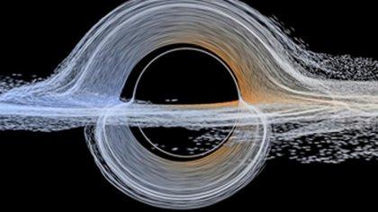 Plasma cerca del horizonte de sucesos a punto de ser devorado por un agujero negro en rotación