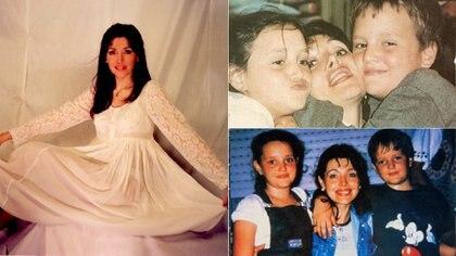 Gilda en su casamiento y con sus hijos Mariel y Fabricio