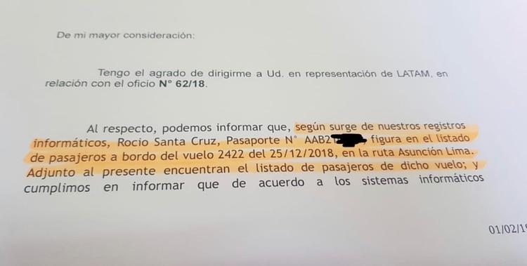 En evidencia: oficio de la línea aérea Latam a la fiscal Álvarez.