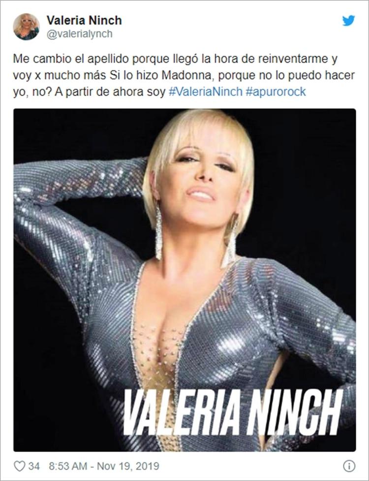 El posteo de Valeria Lynch anunciando su cambio de apellido