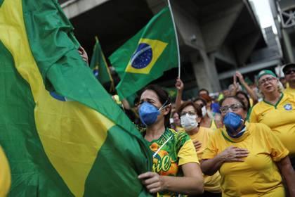 La manifestación a favor de Bolsonaro en San Pablo (REUTERS/Amanda Perobelli)