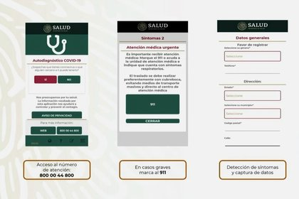 Así funcionará la app lanzada por la SSa para autodiagnósticos de coronavirus (Foto: Secretaria de Salud)