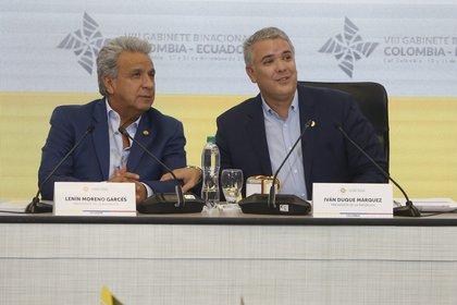 Los presidentes de Ecuador, Lenín Moreno (i), y de Colombia, Iván Duque. EFE/ERNESTO GUZMÁN JR/Archivo
