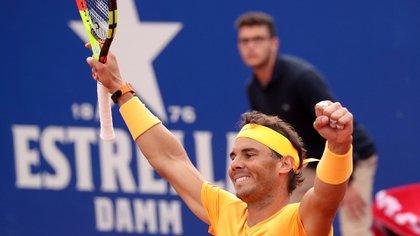 Rafael Nadal festeja tras ganar la final del ATP 500 contra Stefanos Tsitsipas