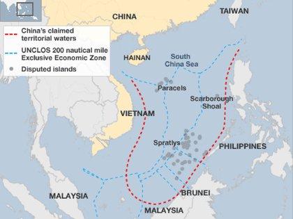 Mapa del Mar Meridiano al sur de China