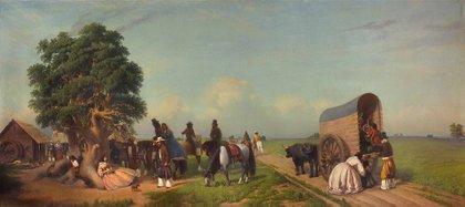 La carreta era el principal medio de transporte. Tirada por bueyes, avanzaba a razón de 3 km por hora. Los viajes duraban semanas o meses