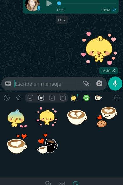 Así se ve uno de los packs de stickers animados ya disponibles en WhatsApp.