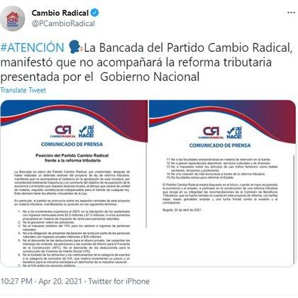 Captura de pantalla de Twitter: partido Cambio Radical se opone a la Reforma Tributaria del Gobierno Duque