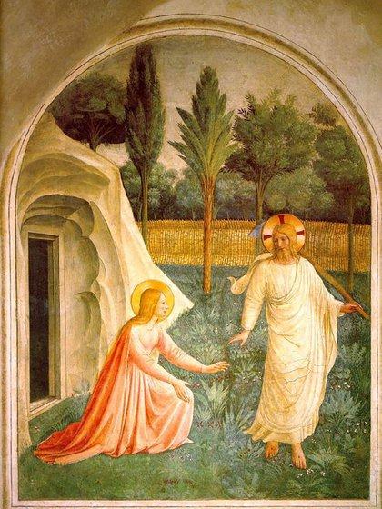 Noli me tangere de Fa Angelico 1437-1446. María Magdalena descubre a Jesús