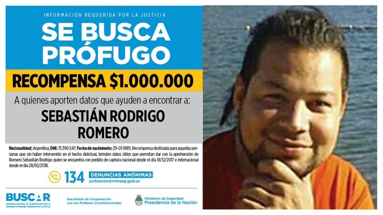 Wanted: la oferta de recompensa, un millón de pesos por entregar a Romero.