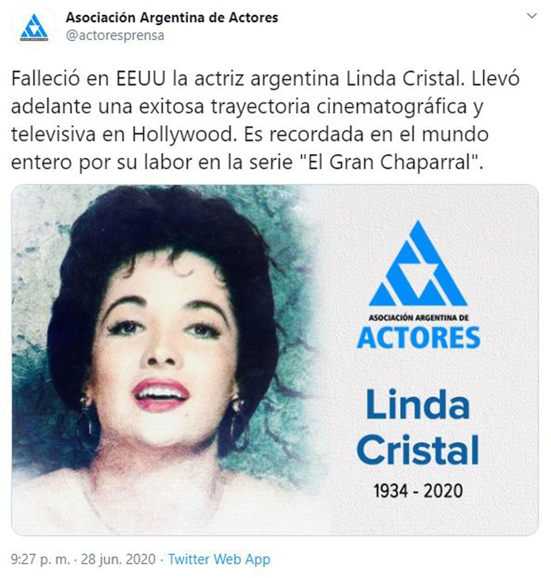 Linda Cristal (Foto: Twitter)