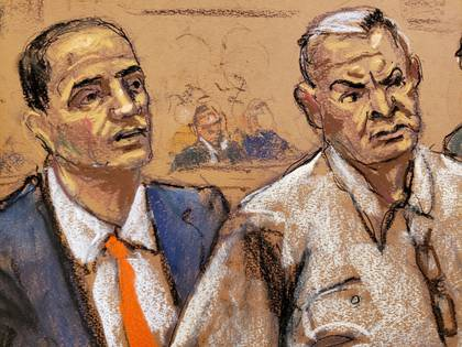 Former Mexican security secretary Genaro Garcia Luna appears with his lawyer Cesar De Castro in Brooklyn federal court in New York, U.S., February 27, 2020 in this courtroom sketch.  REUTERS/Jane Rosenberg REFILE - CORRECTING ID