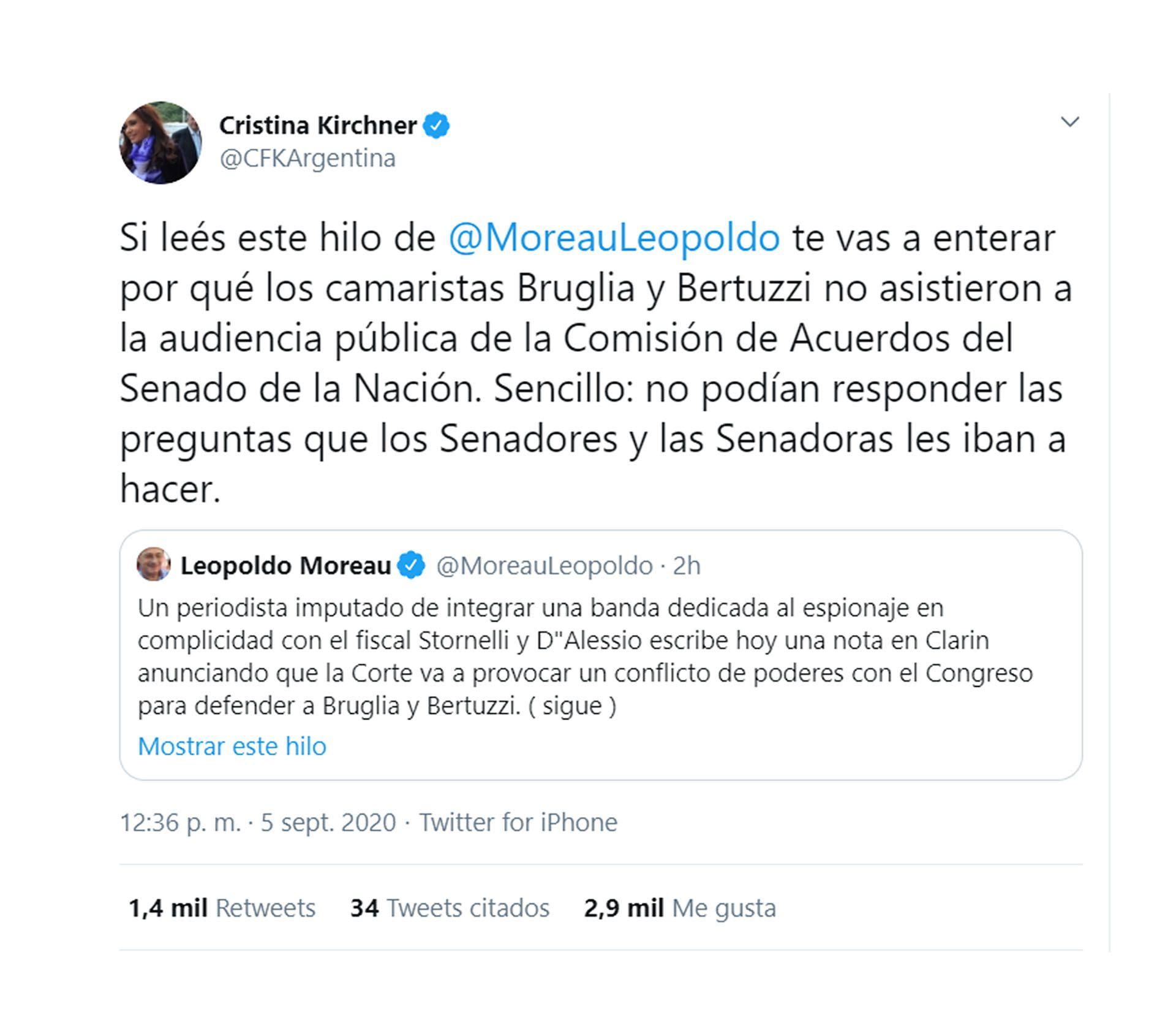 Cristina Kirchner avanzó contra dos camaristas federales que ratificaron su prisión preventiva en la causa Cuadernos | MULTIMEDIOS COLONIA AVELLANEDA