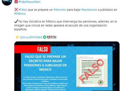 No existe ningún decreto por el que vayan a reducir las pensiones en México