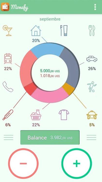 La app permite ver los gastos y los ingresos en un gráfico