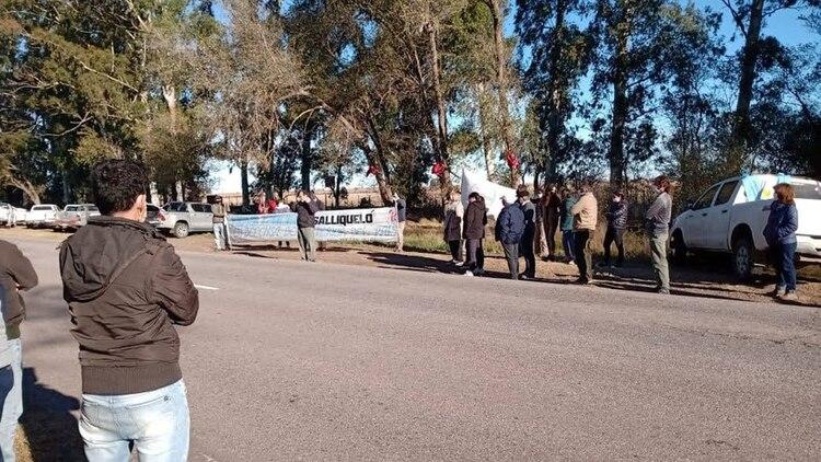 Protesta de productores de Salliqueló, en la provincia de Buenos Aires. Se declararon en estado de