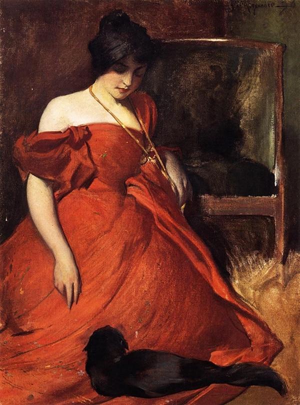 La chica de vestido rojo con gato, John White Alexander, 1896, Brooklyn Art Museum, Estados Unidos.