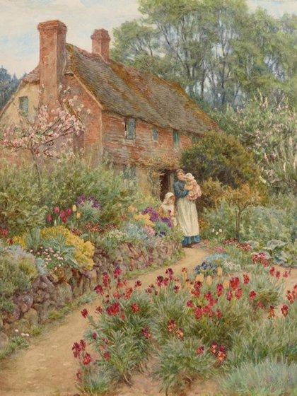 """""""Cabaña en la ladera"""" (1889), de Helen Allingham. Acuarela (39.2 x 32 cm), en La Galería de Arte de Nueva Gales del Sur"""