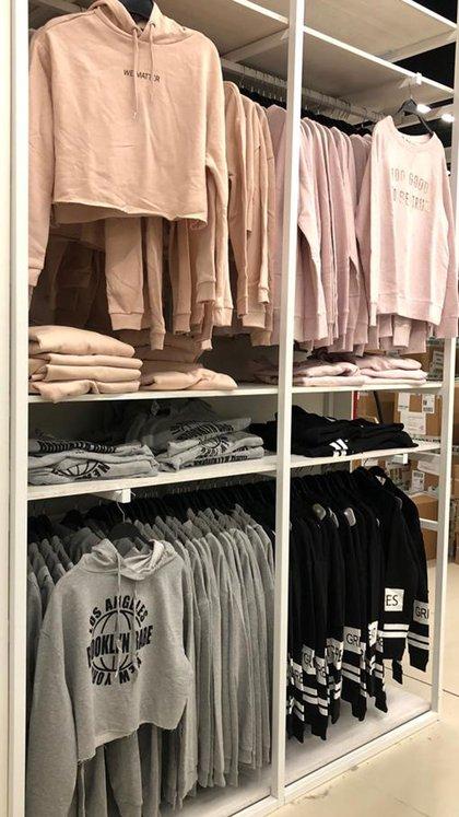 Buzos deportivos de algodón en rosa, gris y negro a $1090