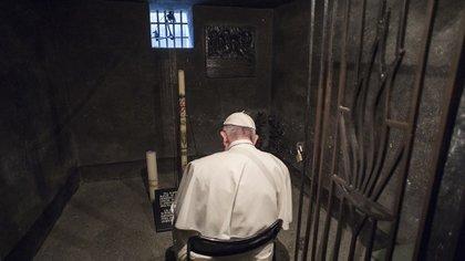 El Papa Francisco orando en la celda del hambre donde confinaron a Maximiliano Kolbe y otros nueve prisioneros para condenarlos a morir de inanición (Vatican News)