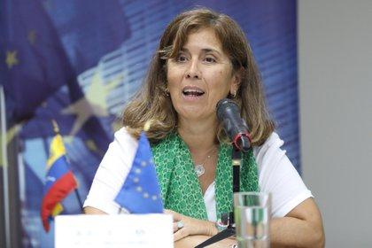 La saliente jefa de Delegación de la Unión Europea en Venezuela, Isabel Brilhante. EFE/Cristian Hernández/Archivo