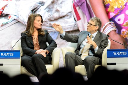 La pareja Gates durante el Foro Económico Mundial en Davos, Suiza. (Foto: EFE)