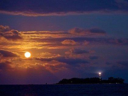 Luna Azul desde Veracruz (Foto: Twitter Hugo Garrido/ @fotogarrido)