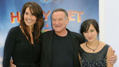 Susan Schneider, Robin Williams y la hija del actor, Zelma Williams (AFP)