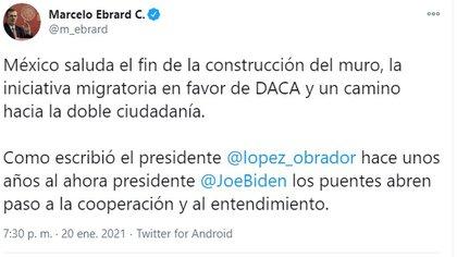 El mensaje de Ebrard saludando el fin de la construcción del muro fronterizo entre México y EEUU (Foto: Twitter)