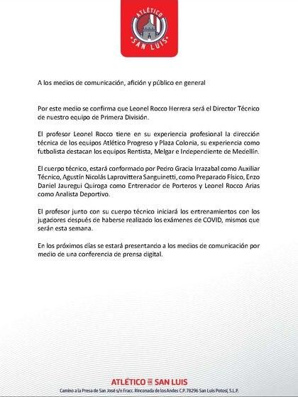 Comunicado de Atlético de San Luis sobre llegada de Leonel Rocco como DT (Foto: Atlético de San Luis)