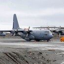 Picture taken in January 2019 at Chile's Antarctic base President Eduardo Frei, in Antarctica, showing a Chilean Air Force C-130 Hercules cargo plane as the one that disappeared in the sea between the southern tip of South America and Antarctica on December 9, 2019 with 38 people aboard. - Rescuers are searching for the C-130 that vanished after departing an airbase in the southern city of Punta Arenas en route to Chile's Antarctic base of Eduardo Frei. (Photo by Javier TORRES / AFP)