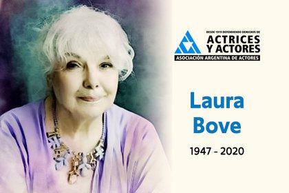 La Asociación Argentina de Actores confirmó la muerte de Bove esta madrugada del martes