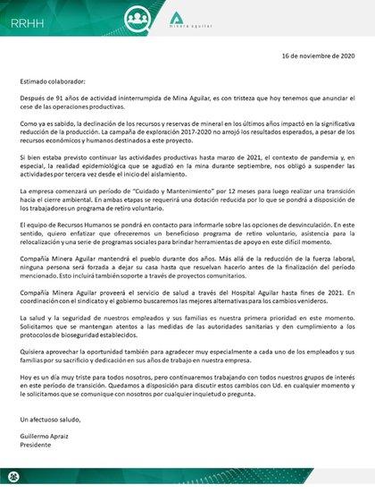 La carta que envió Compañía Minera Aguilar a sus empleados