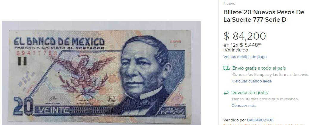 billete 20 pesos. Foto: Internet