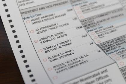 17/10/2020 Una papeleta de voto por correo para las presidenciales en Estados Unidos (Foto: RISHI DEKA / ZUMA PRESS / CONTACTOPHOTO)