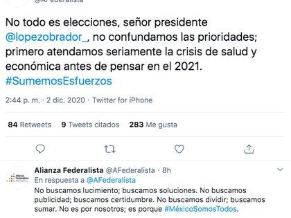Los también llamados gobernadores rebeldes respondieron al presidente López Obrador a través de redes sociales (Foto: Twitter)