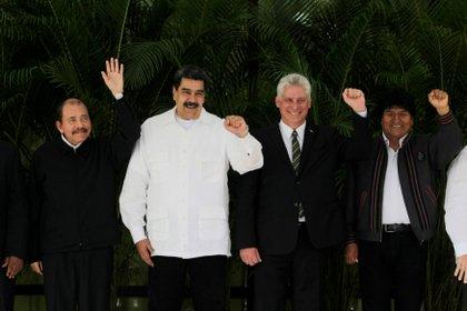 Daniel Ortega, Nicolás Maduro, Miguel Díaz-Canel y  Evo Morales,