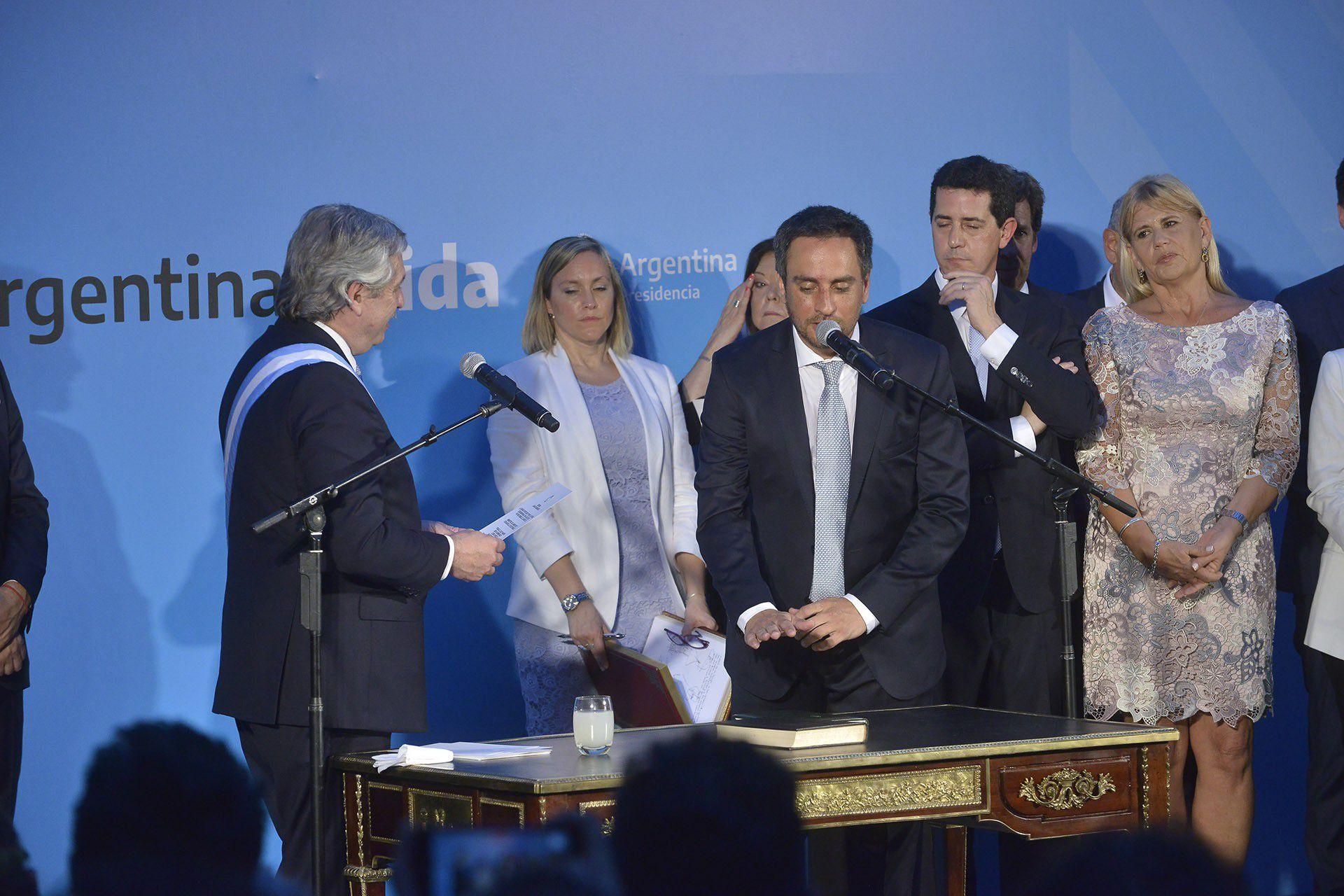 Juan Cabandié, al jurar como ministro de Ambiente (Gustavo Gavotti)