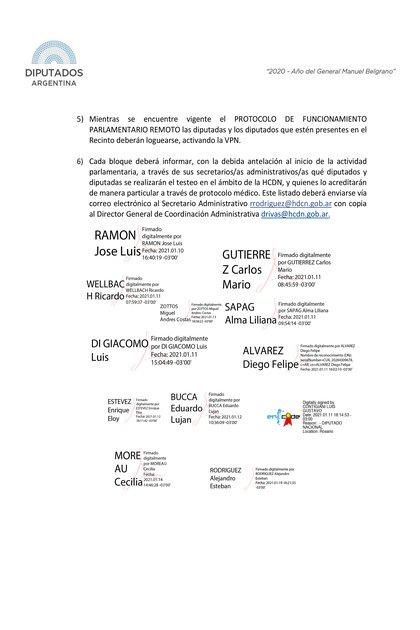 Acta protocolo para sesiones remotas firmada por todos los bloques excepto Juntos por el Cambio y  la izquierda
