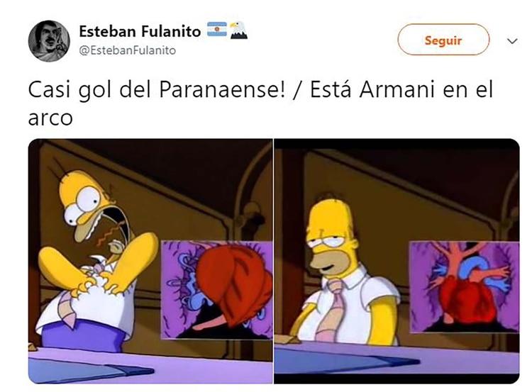 Franco Armani fue clave con dos tapadas espectaculares. Este fanático lo describió con un capítulo de los Simpsons