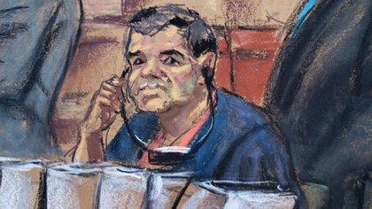 """Dibujo del """"Chapo"""" Guzmán en pleno juicio (Foto: EFE)"""