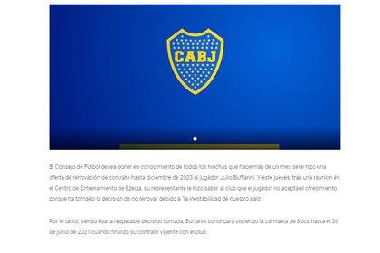 La comunicación que Boca publicó en su sitio oficial y compartió a través de sus redes sociales
