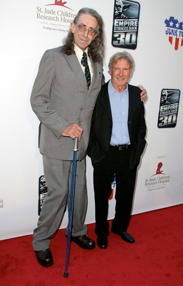 """Los actores Peter Mayhew y Harrison Ford, en el 30° aniversario del estreno de """"El imperio contraataca"""", en mayo de 2010, en Los Ángeles (GETTY IMAGES NORTH AMERICA/AFP/Archivos – Angela Weiss)"""