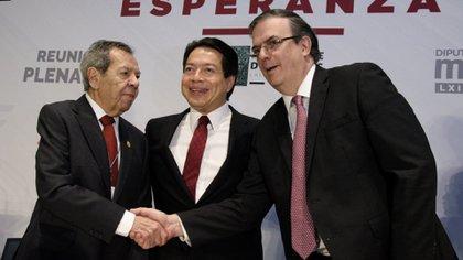 De izquierda  derecha, Muñoz Ledo, Delgado y Ebrard, compañeros y rivales (Foto: Cuartoscuro)
