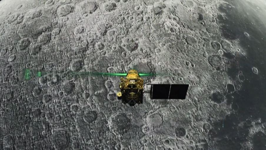 La sonda Vikram Lander ante de su frustrado descenso en la superficie lunar (ISRO/AFP)