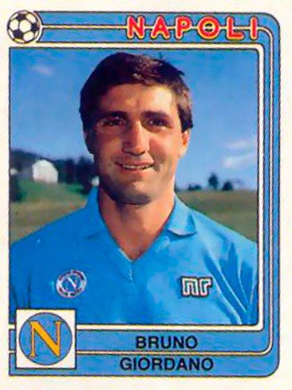 La figurita de Bruno Giordano cuando ya era jugador del Napoli