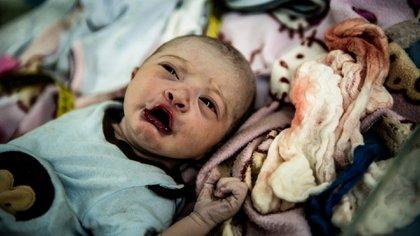 Cristangely, la hija de Smith, minutos después de nacer. (Meridith Kohut / The New York Times)