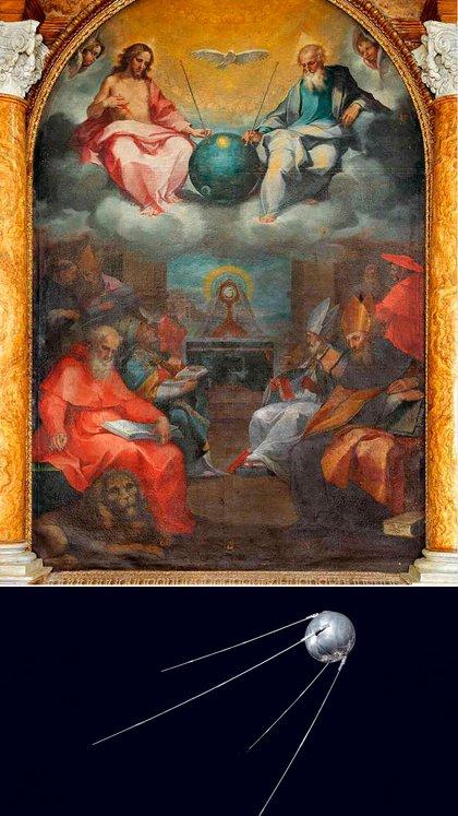 """""""Glorificación de la eucaristía"""" y una imagen del Sputnik"""